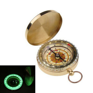 Vintage Brass Noctilucent Pocket Compass Hiking Camping Watch Retro Style Design