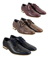 Italian Couture Men Navy Tan Wine Patterned Leather Formal Wedding Lace up Shoes