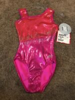 Adult Medium Pink Metallic Alpha Factor Gymnastics Leotard NWT !