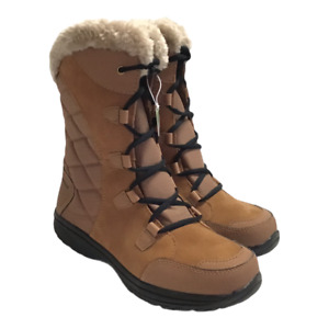 Columbia Ice Maiden II Womens 8M Lace Up Snow Boots Brown Suede Faux Fur NEW