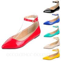 CCC Ankle strap sandals shoes Pointed Toe Ballerinas Dolly Ballet Flats Size