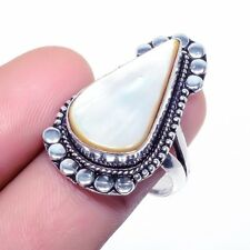Mother Of Pearl Gemstone Handmade Fashion Jewelry Ring Size 9 SR-751