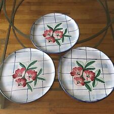 Ethan Allen Home Collection Wall Decor Pottery Plate with Hanger  (set of 3)