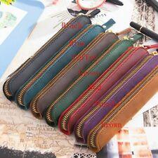 1pc Handmade Cowhide Leather Vintage Zipper Pencil Bag Single mini Case Pen O2J1