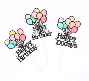Cake Toppers DIY baby Girl Happy Birthday 1st Cupcake Topper Cake Flags Kids Boy