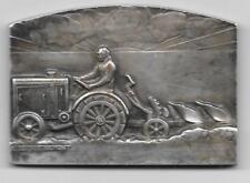 Médaille Comice Agricole paysan fermier tracteur ALBERT HERBEMONT bronze argenté