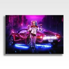 "HARLEY QUINN CANVAS Marvel DC Suicide Squad Joker Car Poster Art 30""x20"" CANVAS"