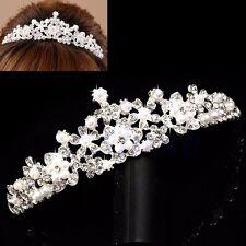 Mariage Accessoires cheveux Fleur nuptiale Rhinestone perle couronne Tiare Voile