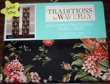 "2 WAVERLY BRIDGEWATER ONYX Curtain Panels 52x84"" each FLORAL Cabbage Roses Black"