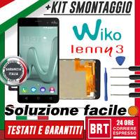 LCD+TOUCH SCREEN ASSEMBLATI WIKO LENNY 3 DISPLAY VETRO NERO ASSICURATO 24H_ +KIT