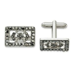 1928 Silver-tone Black Crystal Rectangle Cuff Links