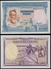 Billete PLANCHA. 25 Pesetas año 1936 Nº 4310812. Joaquín Sorolla.