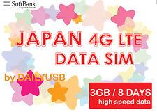Japan Data Sim Unlimited Data 4G 3G Lte 3Gb 8 Days Prepaid Sim Softbank By Ais