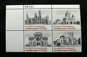 US Stamps Scott #1838-41 ~ 1980 15¢ American Architecture Plate Block MNH RP05
