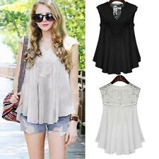 Plus Size Women Summer Lace Splice Chiffon Vest Top Sleeveless Blouse Tank Shirt
