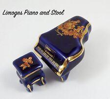 Limoges Porcelain Miniature Piano & Stool Cobalt Blue & Gilt Fragonard Lovers