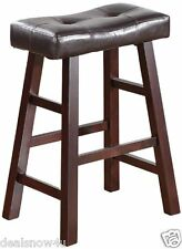 2 Of 24 Inch Counter Stools For Bar Furniture Dark Cherry Solid Wood Seat Pad