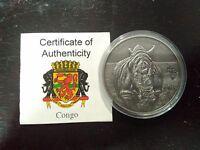 Antique African Ounce Rhinoceros 2012 Congo 1000 Francs 1 oz .999 Ag Silver Coin