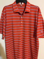 Peter Millar Summer Comfort Golf Polo Red Striped Mens Large