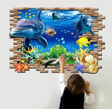 Dolphin Wall Sticker 3D Decal Art Window Nursury Wallpaper Mural For Kid Rooms