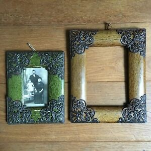 2 Cadres Anciens Bois et Ornements de Métal Photo de Famille 1900 French Frames