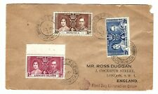 G133 British Leewards Dominica mixed frank coronation fdc stamp cover bargain