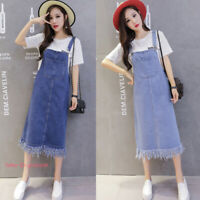 Women Casual Denim Overall Dress Suspender Bib Jean Skirt Pinafore Dress Long