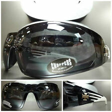 PADDED Choppers MOTORCYCLE RIDING Biker SUN GLASSES GOGGLES Black & White Frame