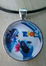 """Rio 2 The Movie  """"BLUE & JEWEL""""  Glass Pendant with Leather Necklace"""