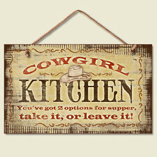 Western Lodge Cabin Decor ~Cowgirl Kitchen~  Wood Sign W/ Braided Rope Cord