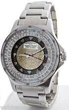King Master Men's Diamond  Stainless Steel Case Diamond Gold Dial Watch 124M-S1