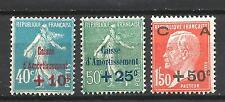 France 1927 Yvert n° 246 à 248 neuf ** 1er choix