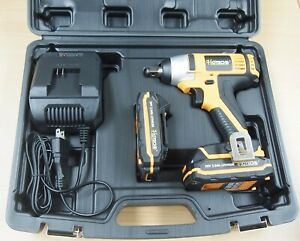 "Cordless Impact Wrench 20V 1/2"" Dr. Led 2 Lithium Ion Batteries Quick Charger"