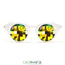 GloFX White Cat Eye Kaleidoscope Glasses – Rainbow Bug Eye Less Intense Effect