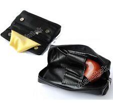 Porta pipe da viaggio con borsello porta tabacco per pipa custodia in pelle nera