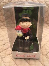 Nib Good Luck Leprechaun W/ Clover And Toadstool
