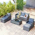6pc Outdoor Sectional Cushioned Sofa Coffee Table Rattan Patio Garden Furniture