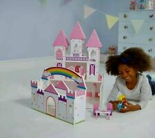 Princess Wooden Doll House Set  Pink Rainbow Castle Play Girls Kids Toy Game UK