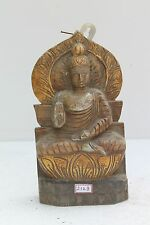 Vintage Old Wooden Hand Carved Meditating Buddha Figure Wall Decor Statue NH2123
