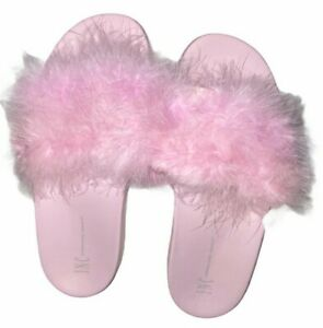 INC International Concept Pink Faux Marabou Slide Slippers Extra Large 11-12 New