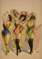 Burlesque Dancers 1899 Vintage Theater Show Rolled Canvas Print 24x32 in.