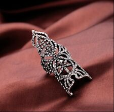 Occident Fashion Silver Rhinestone Full Finger Armor Joint Hollow Out Ring