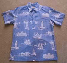 Vintage Cooke Street Honolulu Mens Hawaiian landmarks Oahu short sleeve Shirt L