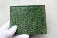 Genuine Alligator, Crocodile Leather Skin Men Bifold Wallet Handmade Green