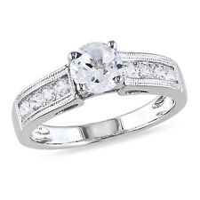 Sterling Silver White Sapphire Engagement Ring