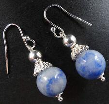 NWT 925 sterling SILVER blue AVENTURINE stone pierced dangle earrings K45