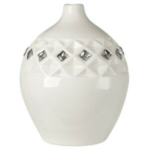 Debora Carlucci Italian Bone China Vase With Swarovski Crystal White Color