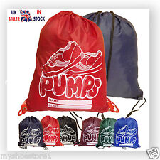 BOYS GIRLS KIDS CHILDREN SCHOOL PE SHOES BAG SPORTS GYM TRAINERS PUMPS BACKPACK