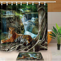 Tiger Pattern Bathroom Waterproof Fabric Shower Curtain Liner Bath Mat Set 71""