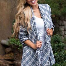 NEW Entro Plaid Cardigan Jacket Cascade Tassels Linen 100% Cotton Blazer Career